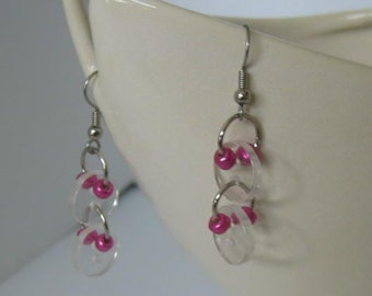 Crystal and Metallic Hot Pink Buttoned Dangle Earrings