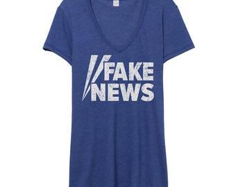 Fake News Shirt V-Neck | Anti Trump Shirt | Alternative Facts Shirt | Fox News Shirt | Faux News | Dump Trump Not My President Resist Shirt