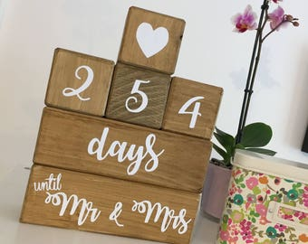 Wedding Count Down, Wooden Countdown Blocks, Engagement Gift,