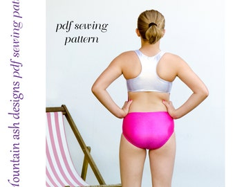 Hannah leotard pattern pdf sewing pattern in girls sizes 2-14 racer back swimsuit