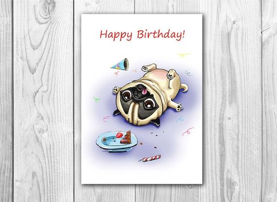 Funny birthday card with pug printable digital greeting card funny birthday card with pug printable digital greeting card instant download 5 x 7 jpg file happy birthday funny sketch drawing bookmarktalkfo Gallery