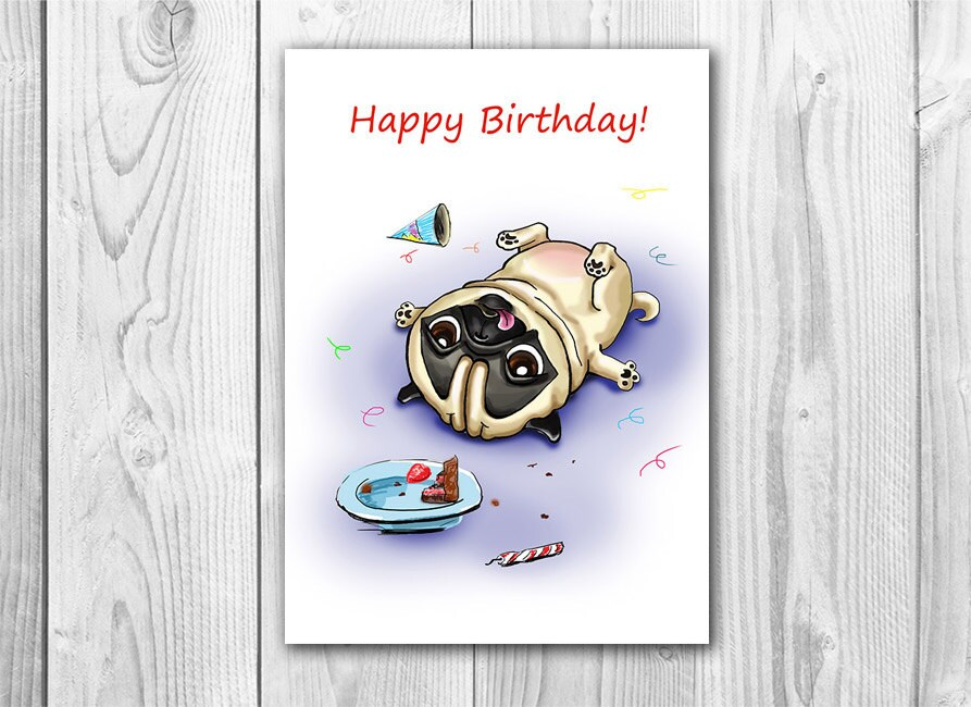 Funny birthday card with pug printable digital greeting card zoom m4hsunfo Gallery