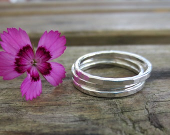 Hammered Stacking Rings, Set of Three, Sterling Silver, Modern, Handmade, Unique Jewelry, Designer Jewellery, delicate, minimalist, natural