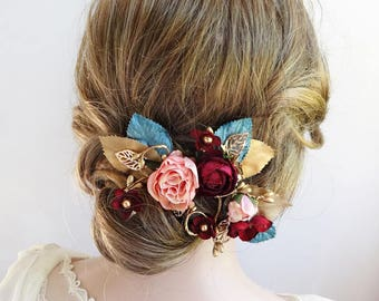 burgundy and gold hair clip, burgundy flower hair accessories, teal and gold, teal hair clip, turquoise hair comb, bridal hair clip, vine