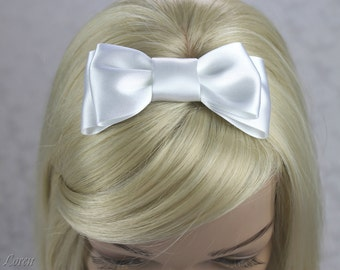 White Hair Bow, White Satin Bow Hair Clip, White Wedding Accessories, First Holy Communion Hairbow