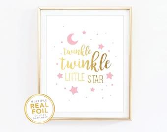 Twinkle twinkle little star, Gold Foil, Wall Art, Nursery Decor, Baby girl room decor, baby room decor