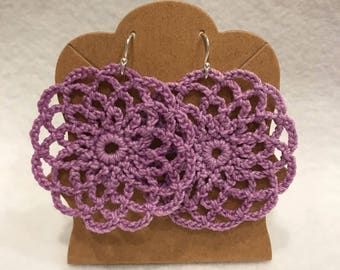 Lavander crochetnlace mandala earrings
