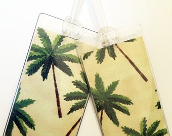 Luggage Tag Pair -- Palm Trees