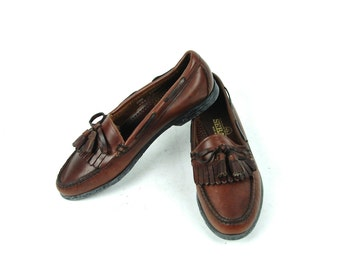 Brown Leather Sebago Docksides Tassle Loafers, Size 8 1/2 M, Made in the USA