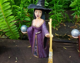 WITCH figurine-Soleil-embellished witch figurine with broom-spellcaster-moon enchantress-alter figure-magical decor-mystical keepsake.