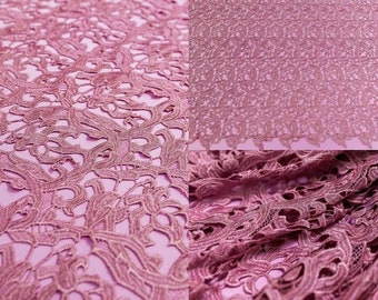 Dusty pink cotton lace,African lace,lace fabric,Crochet Lace wedding dress,buy the yard,Bohemian lace,dusty lace wedding dress -1/yard
