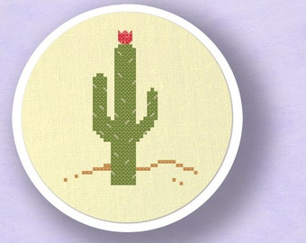 Blossoming Cactus Cross Stitch Pattern. Modern Simple Cute Cactus Flower Counted Cross Stitch Pattern PDF File. Instant Download