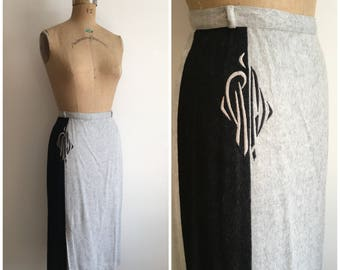 1950s Two Tone Gray Black Flannel Wool Pencil Skirt 50s Embroidered
