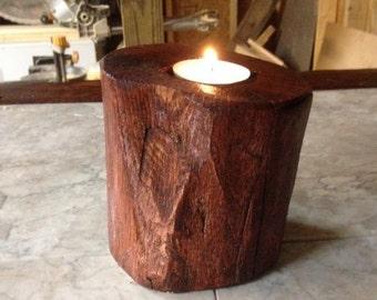 tea light log candle holder