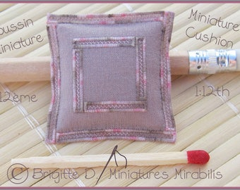 Miniature cushion 1/12 scale Taupe pink Zigzag embroidery