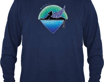 Jerry Garcia Long Sleeve T-shirt/ Winged Cat Under the Stars/ 100% cotton heavyweight Long sleeve T/