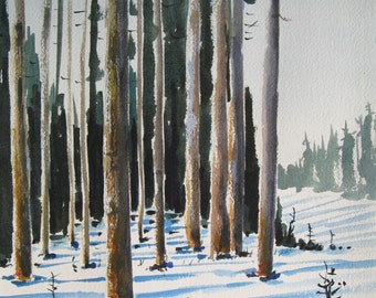 Winter landscape with snow, in the Oregon Cascades, print from a handmade original