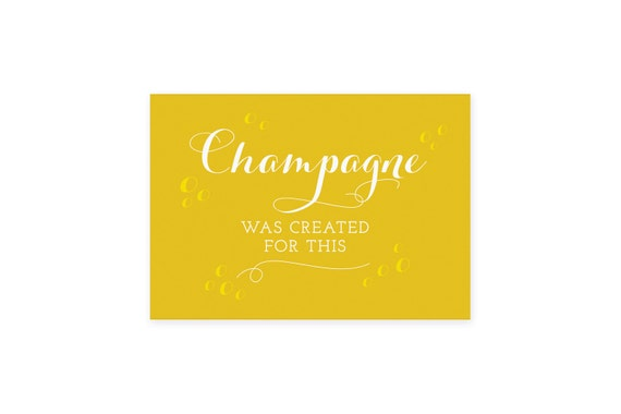 Postcard: Champagne was created for this // Colourful Quote card // Postcard art // Can also be framed as a small print