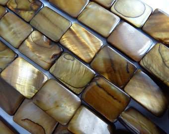 """15 1/2"""" Strand Shell Mother of Pearl Rectangle Brown 17 to 19mm Long Beads A711"""