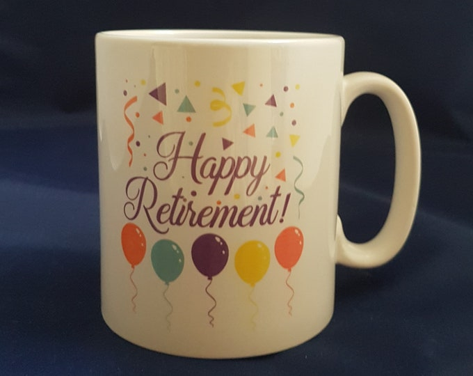 Featured listing image: Happy Retirement Mug, Retirement Gift, Personalised Retirement Mug, Retirement Gift Women, Retirement Gift Men
