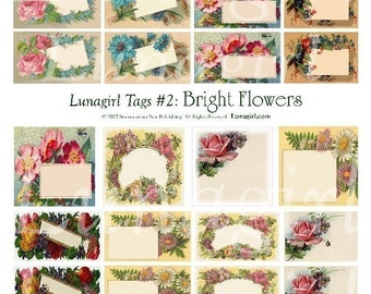 VINTAGE TAGS digital collage sheet, Victorian flowers, floral tags, vintage gift tags, Victorian labels, antique roses art ephemera DOWNLOAD