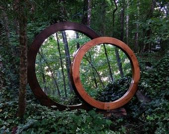 """Round Mirror, Modern Round Mirror, Large Wall Mirror, Modern Rustic Mirror, 36"""" Round Mirror, 30"""" Round Mirror, 42"""" Round Mirror"""