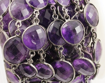 Amethyst Bezel Chain Component, Oxidized Sterling Silver,Sold as Foot,12x15  mm, (GMCOX-AM)