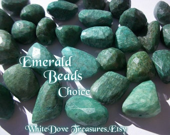 EMERALD BEADS - Genuine Gemstone ~ Faceted Natural Stone Nugget ~ Lg Loose Choice 32-16mm ~ Focal Bead