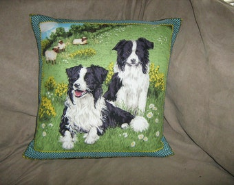 BORDER COLLIE Style 2 left facing Fabric Pillow Cover Rare and Out of Print Makower UK