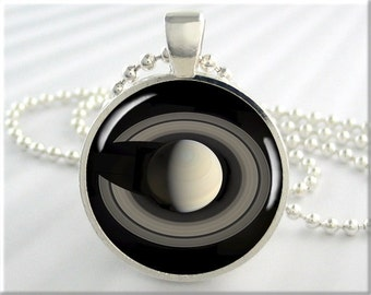 Saturn Space Pendant, Space Probe Cassini, Saturn Photo Charm, Planet Pendant, Round Silver, Space Geek Gift 634RS