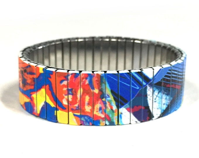 Bracelet ABSTRACT MODERN ART, Stainless Steel, Repurpose Watch Band, Stretch Bracelet, Wrist Band, Sublimation, gift for friends