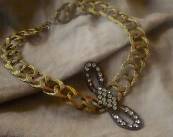 Antique Paste & Gold METALLIC Thread Choker, OOAK Gold mesh Necklace, Jewelry gift for Her