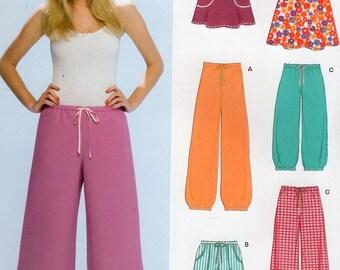 New Look 6710 Free Us Ship Elastic Waist Drawstring Shorts Skirt Pants Sweatpants Active Sportswear Pajamas Banded Leg Size 10/22 plus size