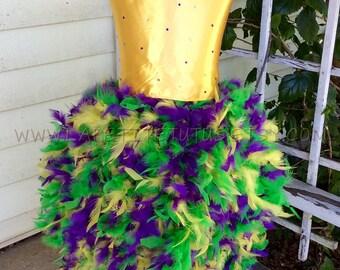 Mardi gras tutu dress, mardi gras full feather dress, flower girl dress, flower tutu, pageant dress, girls dress, baby dress, girls clothing