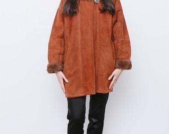 Vintage 1980's Oversized Shearling Sheepskin Aviator Rust Orange Brown Swing Coat