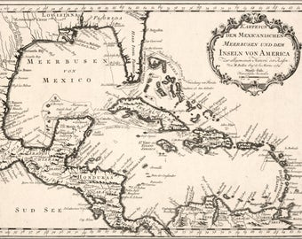 Poster, Many Sizes Available; Map Of Caribbean West Indies Cuba 1754 In German