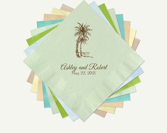 Tropical Wedding Cocktail or Luncheon Napkins | Tropical Juniper Wedding Palm Trees Personalized Wedding Cocktail Or Luncheon Napkins