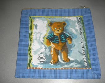 Pillow and its cover design with central bear