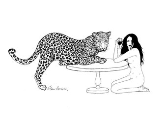Girl with Jaguar Art Print / Wild Cat Leopard Spirit Animal / Nude Erotic Illustration / Feminist Female Artist