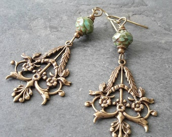 Natural Brass Bohemian Earrings, Art Nouveau, Carved Flower, Boho Jewelry, Triangle Earrings, Gyspy, Geometric Jewelry