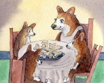 Pembroke Welsh Corgi chien chiot 8 x 10 impression manières de table humour aquarelle