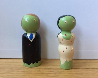 Zombie Bride and Groom Peg Dolls, Engagement, Romance, Valentines, Wedding, Love, Pop Culture