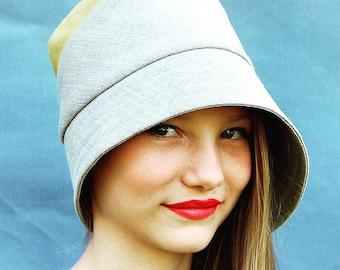 Womens summer hat Linen summer hat Handmade designer hat womens fashion hat French linen hat Yellow linen hat  ZUTdaisy asymmetrical sun hat