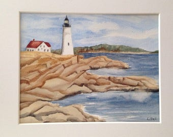 Original watercolor painting Lighthouse on Cliff matted and signed