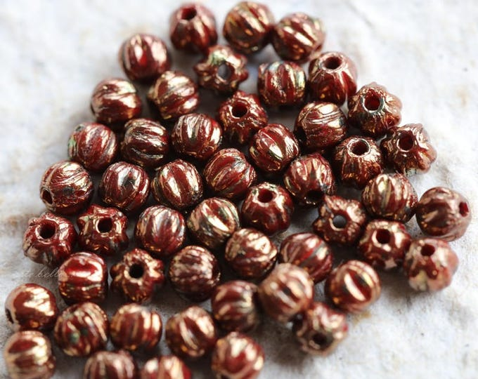 GILDED RED MELONS .. 50 Picasso Czech Melon Beads 3mm (5776-50)