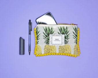 Pineapple Zipper Top Small Pouch with Yellow Bubble Trimming