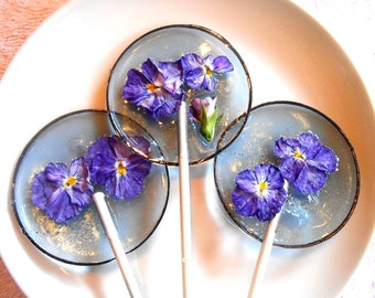 Gourmet Blueberry Ice Violas Edible Flower Lollipops Candied Fresh Flowers Wedding Favors Gift for Mothers Day, Flower Lover Gift, Flower