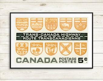 Canada vintage, vintage Canada poster, canada cottage decor, canada roadtrip, canada nostalgia, trans-canada highway poster, cottage posters