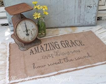 "Burlap Mini Table Runner - ""Amazing Grace"" - Rustic Farmhouse -Natural Ruffles - Centerpiece By:Sweet Magnolias Farm"