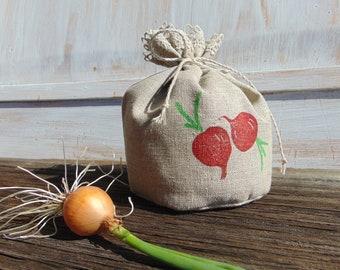 Food storage bag Natural linen Fabric Reusable Gift bag Bread Favor Grocery Veggie Radish